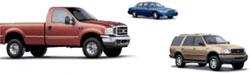 A red pick-up truck, a blue sedan and a gold SUV
